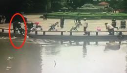 长沙3岁孩童小区坠湖,六旬邻居跳水救人
