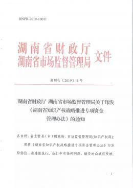 湖南出臺知識產權戰略推進專項資金管理辦法 加大知識產權保護支持力度